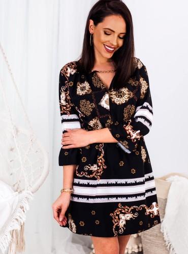 Sukienka PALOMA ze złotym łańcuszkiem - czarna