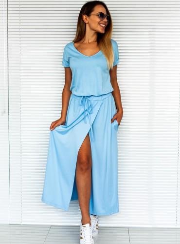 Sukienka LONG CITY - baby blue
