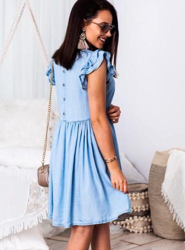 Sukienka MARGARET z falbankami na rękawach - jeans