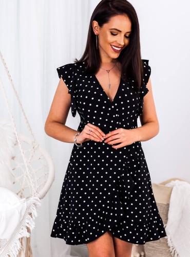 Sukienka LOLA II w grochy - czarna