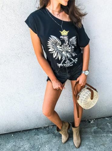 t-shirt EAGLE III - czarny ze srebrnym orłem