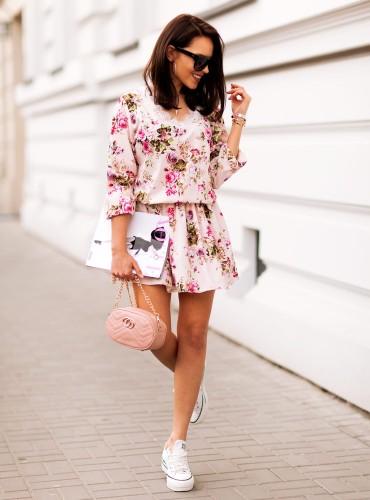 Sukienka z koronką MAGNA I - pudrowy róż