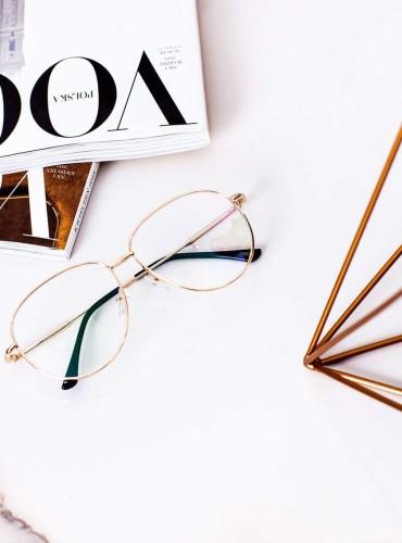 Okulary 14 - zerówki gold