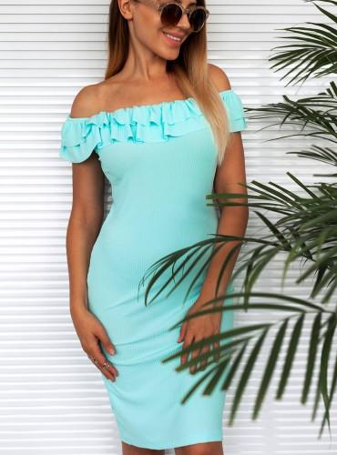 Sukienka z falbanką FREYA - miętowa