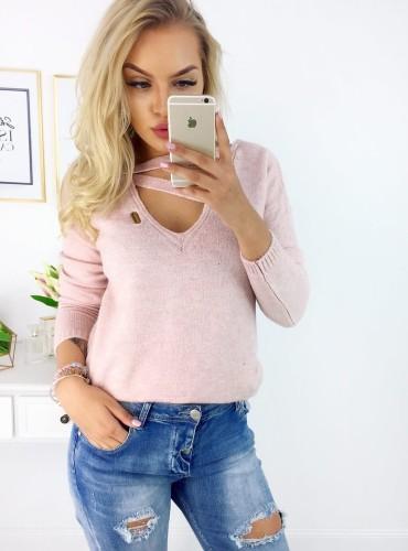 Sweterek NYLA - pudrowy róż