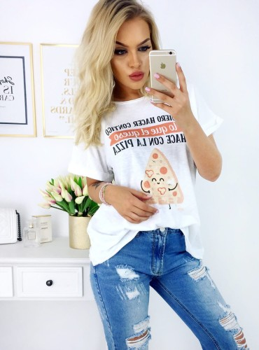 T-shirt Happy Pizza - biały