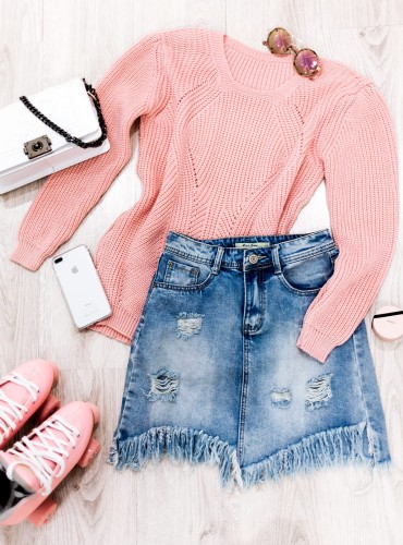 Sweterek DORIE - pudrowy róż