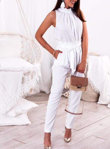 Spodnie KARIS wiązane - białe