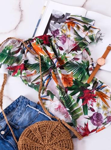 Bluzeczka Hiszpanka REVA - biała w pomarańczowe kwiaty