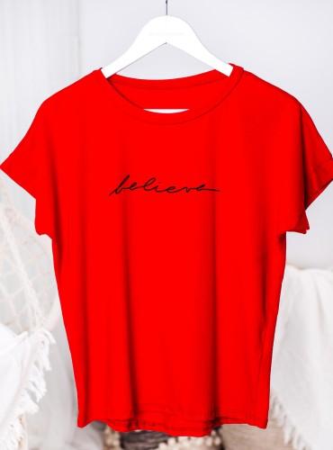 T-shirt BELIEVE - czerwony