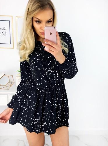 Sukienka w gwiazdki z gumką w pasie - czarna
