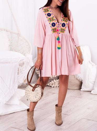 Sukienka AUGUS - pudrowy róż