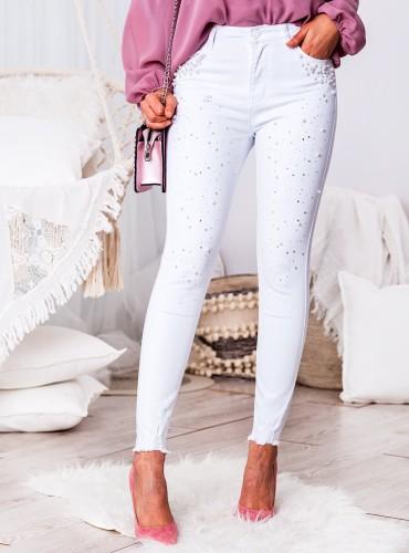 Jeansy denim z perełkami i diamentami - białe