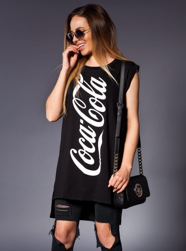 T-Shirt #COCA COLA LONG CZARNY