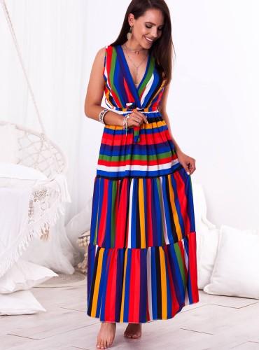 Sukienka MAXI BESS - czerwono granatowa