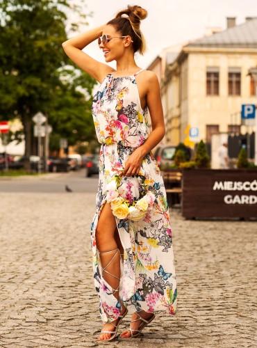 Sukienka długa MADONNA FLOWERS WHITE
