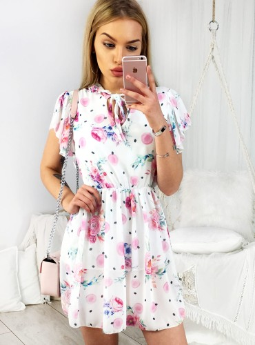 Sukienka ELISA - biała w różowe róże