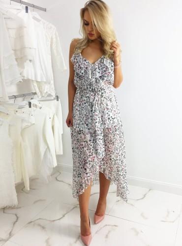 Sukienka długa ALIYAH - PINK FLOWERS