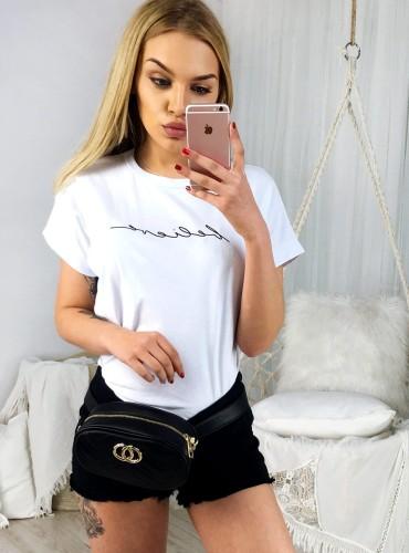 T-shirt BELIEVE - biały