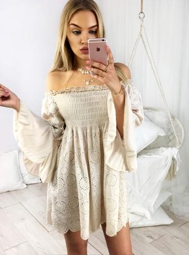 Sukienka BOHO CINDY - beżowa