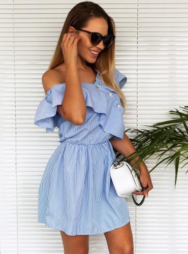 Sukienka w paski z guzikami - baby blue