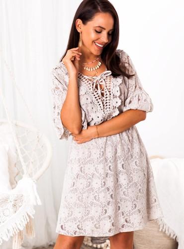Sukienka BOHO DAMARIS - beżowa