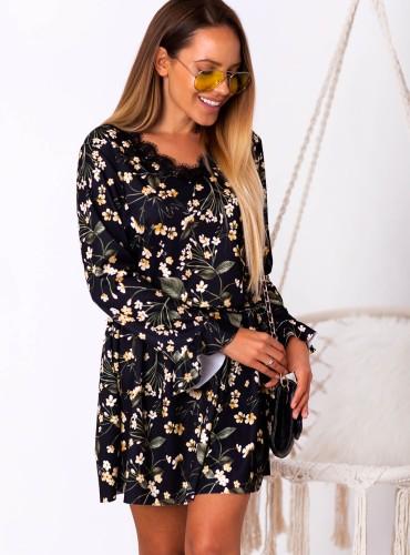 Sukienka FLORI - czarna w żółte kwiaty