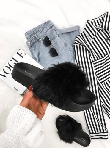 Klapki Fur I - czarne