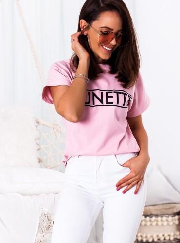 T-shirt BRUNETTE NEW - pudrowy róż