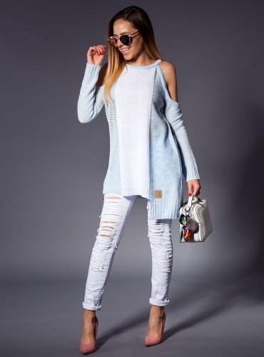 Sweter AŻUR BABY BLUE BEZ RAMION