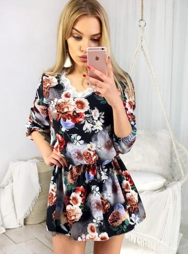 Sukienka z koronką MAGNA V - czarna w brązowe kwiaty
