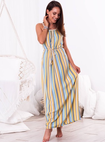 Sukienka MAXI LACY - żółto niebieska