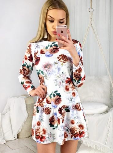 Sukienka LIBBY IV - biała w brązowe kwiaty
