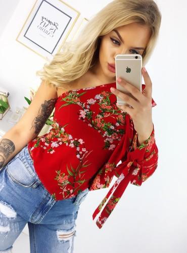 Bluzka na jedno ramię EDENA - czerwona