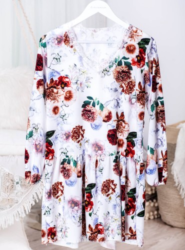 Sukienka z koronką OMNIA - biała w brązowe kwiaty