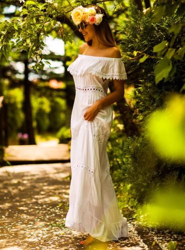 Sukienka MAXI BOHO BIAŁA