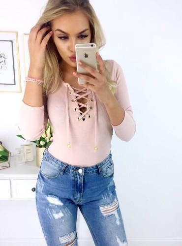 Bluzeczka w prążek ALISHA - pudrowy róż