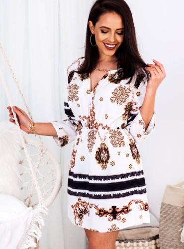 Sukienka PALOMA ze złotym łańcuszkiem - biała