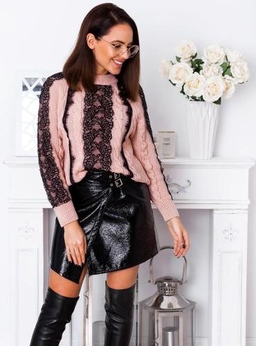 Sweter AMBER z koronką - pudrowy róż