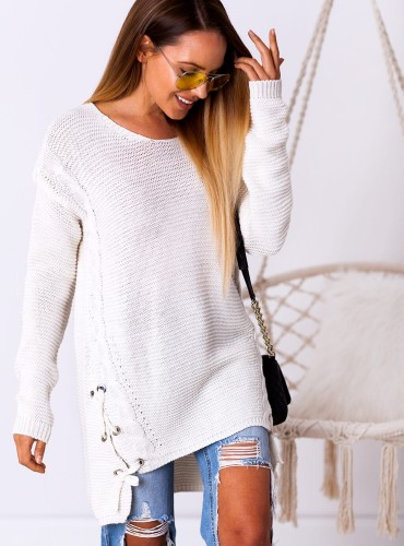 Długi sweterek NIKITA - kremowy