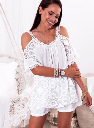 Bluzka BOHO FLORES - biała