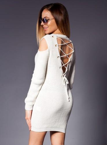 Sweter SZNUROWANY NA PLECACH KREMOWY
