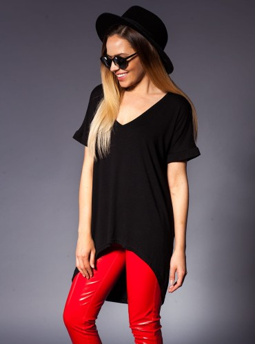 T-SHIRT BASIC LONG CZARNY