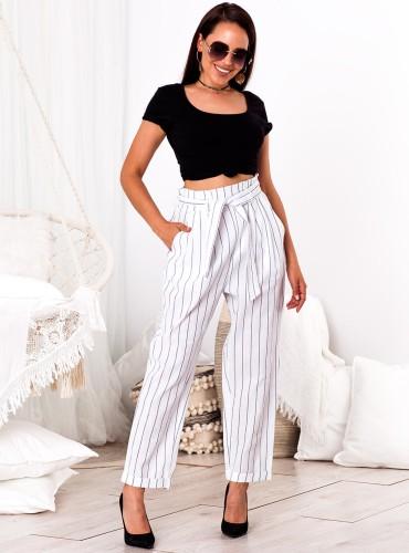 Spodnie STELLA - białe w paski
