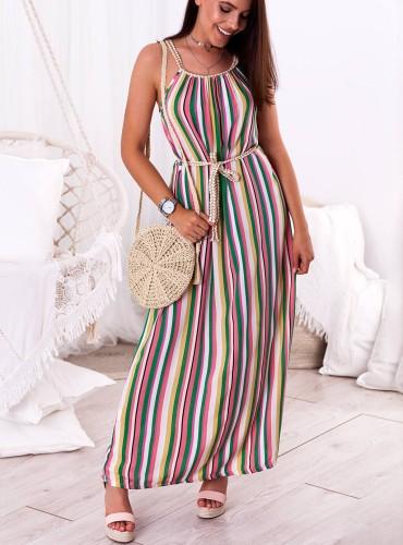 Sukienka MAXI LACY - zielono różowa