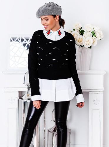 Sweterek MIMI z pomponami - czarny