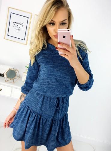 Sukienka z falbaną wiązana - niebieska