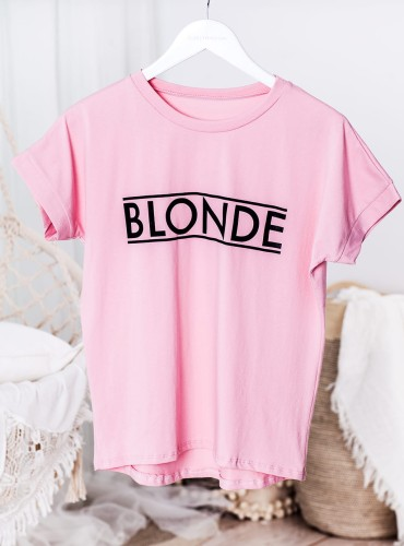 T-shirt BLONDE NEW - pudrowy róż