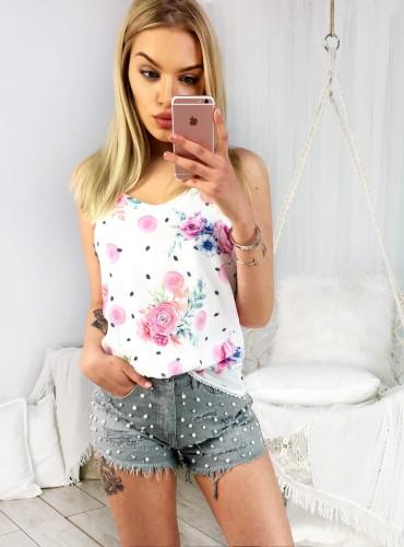 Bluzeczka na ramiączkach ELISA - biała w różowe róże