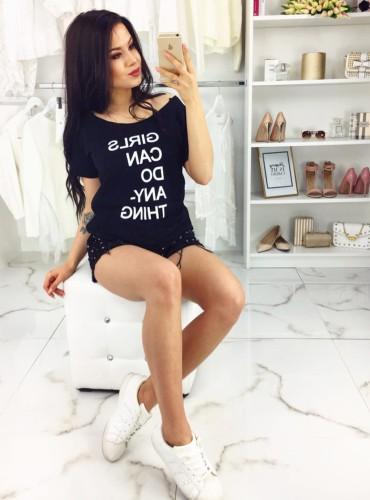 T-Shirt SUBTITLES CZARNY